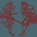 Strichzeichnung von zwei Samurai